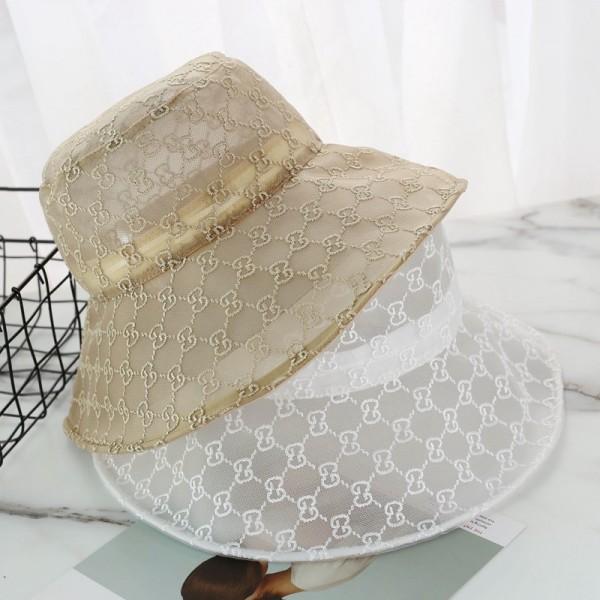 Gucci レディース向けバケットハットメッシュ薄型つば広 UVカットBucket hat グッチロゴ刺繍 通気性抜群 ハットアウトドア 日よけコロナ対策 おしゃれ シンプル 芸能人愛用
