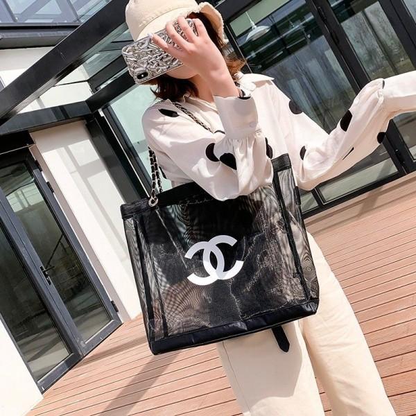 今日だけ2999円シャネルメッシュバッグ 夏用 トート ショルダーバッグ Chanel 黒白ドレスコーディネート メッシュトート
