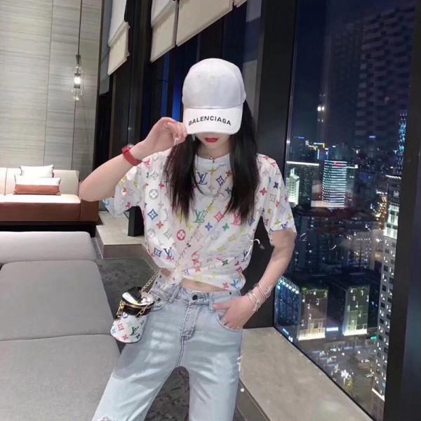 ルイヴィトン風Tシャツ夏の半袖 薄手  LVロゴプリント女性ファッション コットン100% 良質 若者愛用 ブランド 通勤 全試合トップス おしぁれ ティシャツ きれい上着 激安
