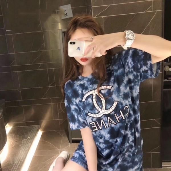 CHANEL 大きいサイズトップス 春 夏 半袖Tシャツ レディース ファッション 新色 プリント Tシャツ 新元号 T-shirt ブランド風 シャネル ヨーロッパとアメリカ ティシャツ