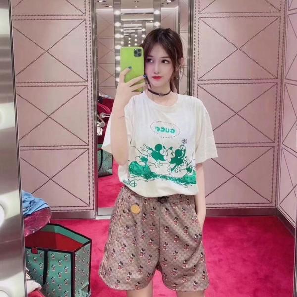 夏の半袖 ブランド グッチ  TシャツピングミッキープリントTシャツ レディース 韓国 可愛 クルーネック おしゃれ 修身 カジュアル ホワイド ティシャツ