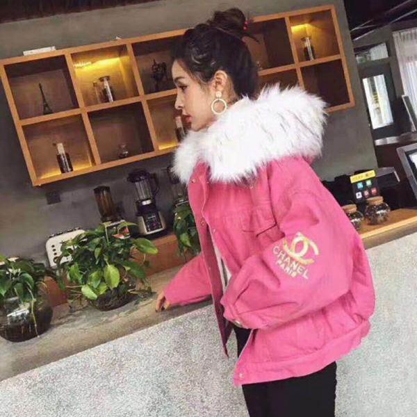 CHANELコート送料無料 冬物 綿 女性 INS ブランドファッション ゆるい 冬服 学生 厚くする 中・長セクション 大きな 毛皮の襟 コットンコート シャネル 綿の服 女性 レディース服 暖かい 冬適用
