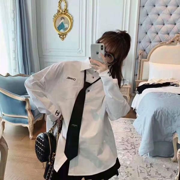 シャネル シャツ お洒落小香風 ネクタイ付き長袖 ファッションカジュアル トップス