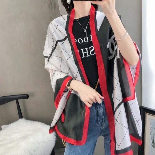 シャネルスカーフブランドシルク製 柔らかいソフトショールレディースお洒落小香風マフラーChanel定番ファッションアイテムスカーフ