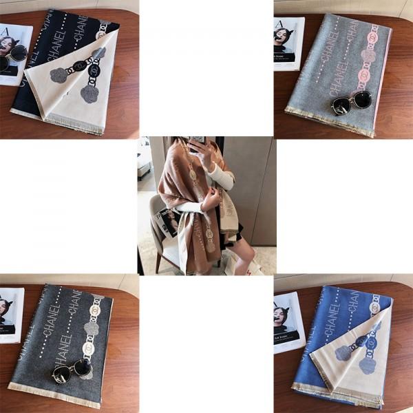 シャネルブランドマフラーレディースファッション柔らかい厚手ストール Chanel 暖かい秋冬ショールオススメ通販