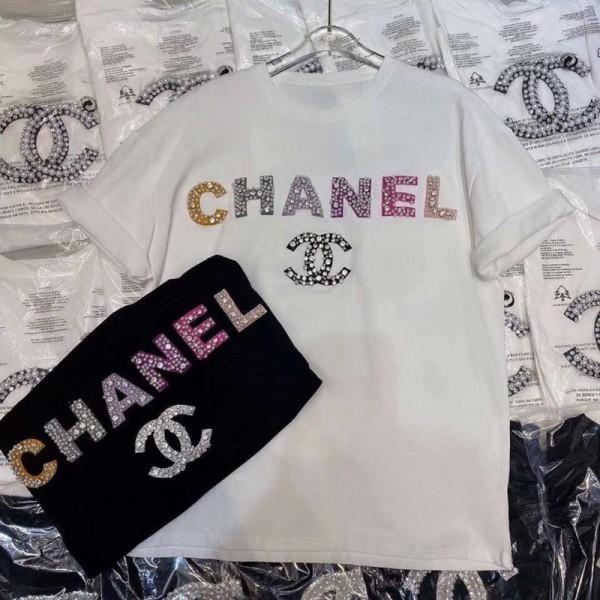 シャネルコピーブランド半袖tシャツおしゃれ ゆったりコットン トップスキラキラパールやダイヤ付きTシャツ黒 白レディースT-shirt