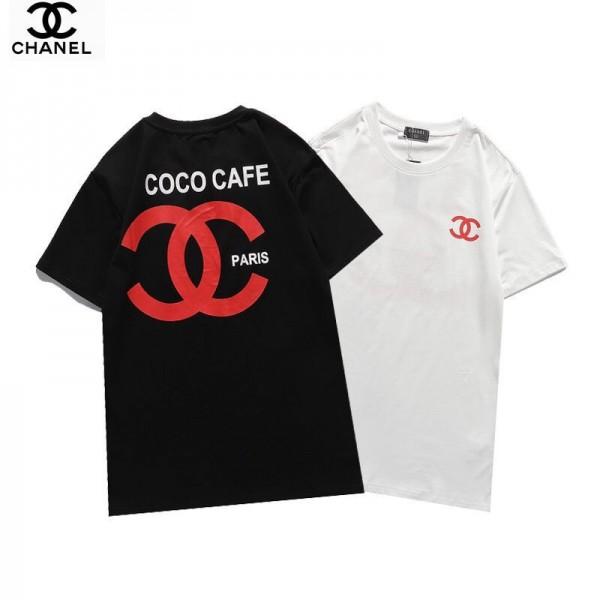 Chanel/シャネルブランドtシャツシンプルでおしゃれ半袖コットンT-shirtカップルカジュアル2021春CCロゴプリントTシャツ送料無料