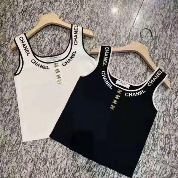 シャネルレディースベストブランド春夏おしゃれサマーニットベストファッション潮流Chanelチョッキシンプル着やせベスト