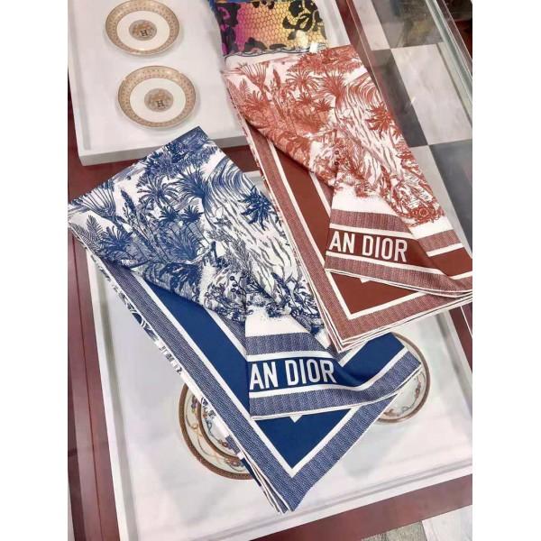 ディオールおしゃれマフラーブランド女 シルク方形スカーフDior柄プリント柔らかいショールファッション高級人気スカーフ