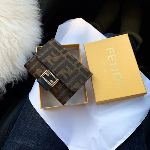 FENDI三つ折り財布ブランドパロディ風シンプル収納ウォレットお金入れ カード入れ財布レディース メンズ 小さい財布ブランドフェンディ短財布