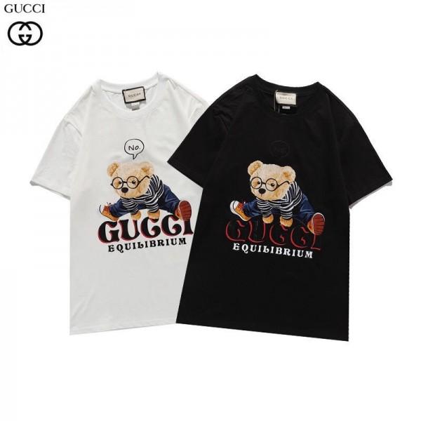 2021春夏グッチtシャツブランドゆったり 黒 白 男女兼用Tシャツかわいい半袖キャラクター小熊プリントトップス若者愛用
