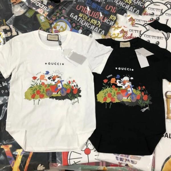グッチ半袖tシャツレディースかっこいいドナルドダックプリントtシャツブランドパロディ風メンズ 大きいサイズ丸首tシャツGucciコットントップス