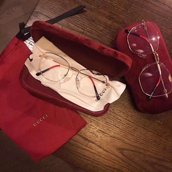 グッチブランドグラスファッション素通しUVカットブルーライト対策ポリゴングラス男女兼用シンプルグラス