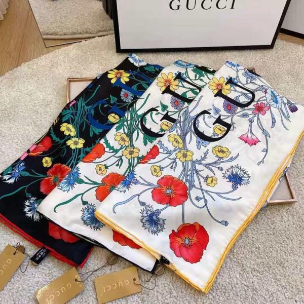 グッチシルクスカーフハイブランド女性向けかわいいディズニーミッキー絵柄マフラー柔らかいソフトスカーフ上品な絹 方形ショール