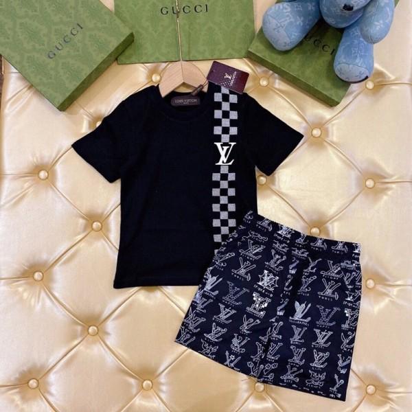 ルイヴィトンファッション半袖tシャツズボン2点セットブランド柔らかいコットン快適な子供服 上下セット2021新モデルスーツ