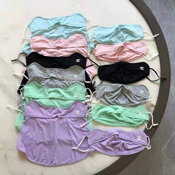 シャネルブランドアイスシルクマスクファッション薄い涼しい洗えるマスク夏 日焼け防止 防風 防塵 首付きマスク抗菌 高級感人気 氷の糸マスク繰り返し使え