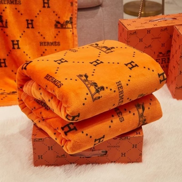 エルメスブランド 毛布 高級感ふわふわ柔らかいランケット秋冬 厚手 暖かいオフィス 車用 エアコン毛布 シングル Hermes ホームブランケット贈り物の箱付き