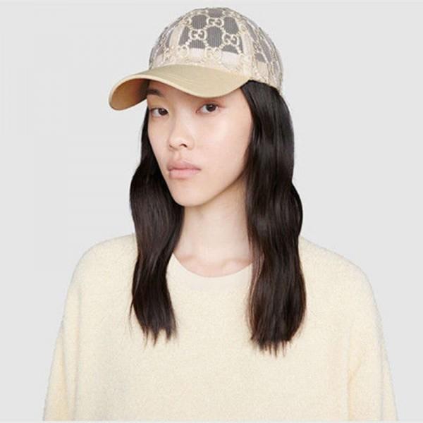 グッチ/Gucci キャップ帽子 日よけ帽 ブランド メッシュ薄型 夏専用 UVカット 刺繍ロゴ  女性 おしゃれ つば広めのキャップ 日よけ帽 コロナ対策