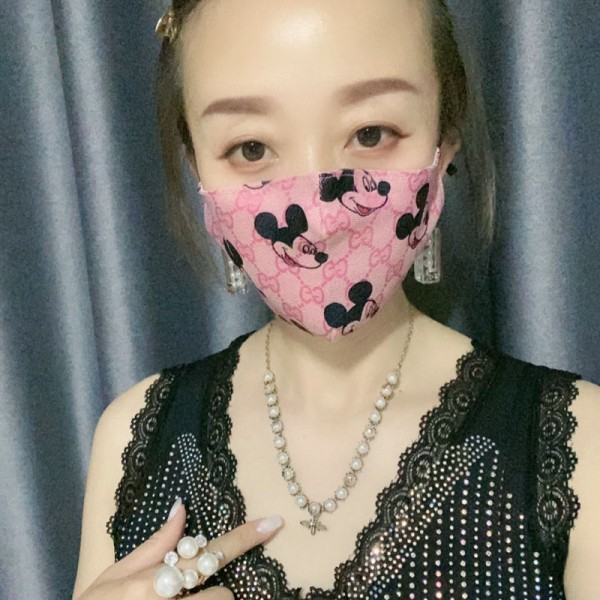 グッチミッキーコラボマスク ピンクグッチ/Gucciマスクかわいい韓国風 学生用 女性 フリーサイズ おしゃれ  在庫あり 100%綿 夏マスク 薄い 飛沫感染予防 ウィルス対策  洗える