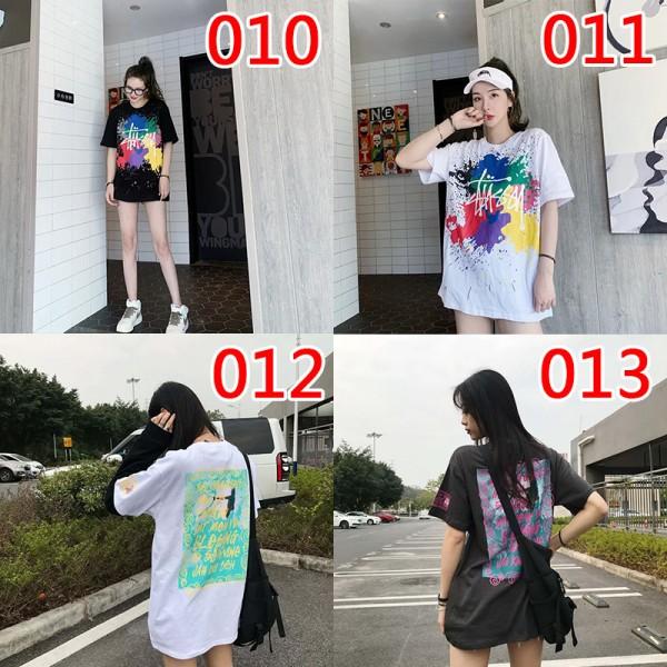 ハイブランドstussyTシャツ 落書きTシャツ個性的レディース ダンス 衣装 韓国 大きいサイズ ヒップホップタイドブランド 夏物 半袖 若者愛用 薄手 きれい上着 良質 T-shirt