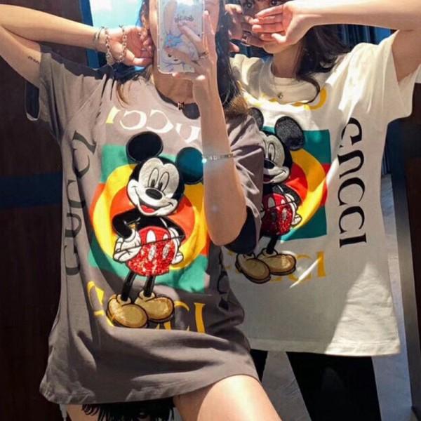 夏の半袖Tシャツ メンズ ブランド風 グッチミッキーコラボ Tシャツ 女性 大きいサイズ トップス 可愛い ディズニーミッキー柄 おしゃれ フリーサイズ GUCCI T-shirt