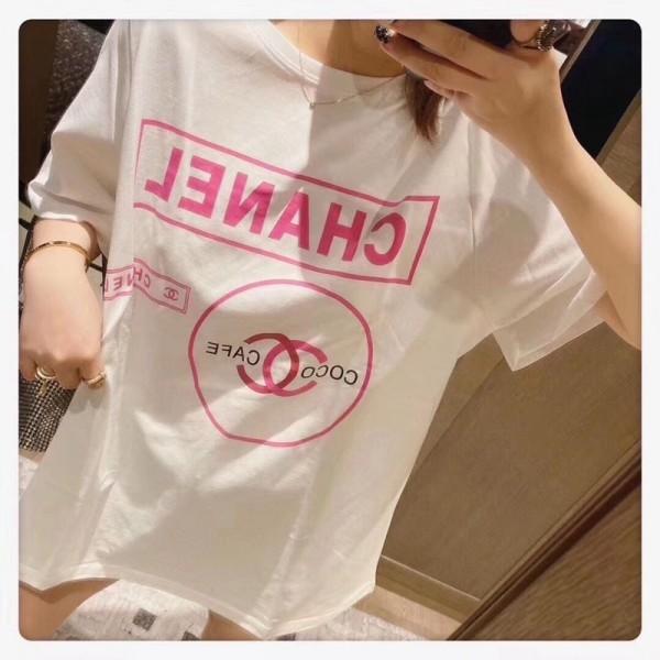 2020年春夏の新色のアートプリントTシャツ ブランド風 シャネル Tシャツ 大人気 レディース 夏の半袖Tシャツ  CHANEL 韓国風 おしゃれ かわいい トップス 送料無料