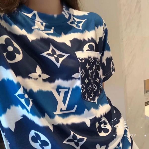 春 夏 LV Tシャツ 新色 ロゴプリントTシャツ 新元号 半袖 Tシャツ ヴィトン風 女性 ファッションTシャツ 大きいサイズ トップス 人気 快適 普段着 通勤 全試合