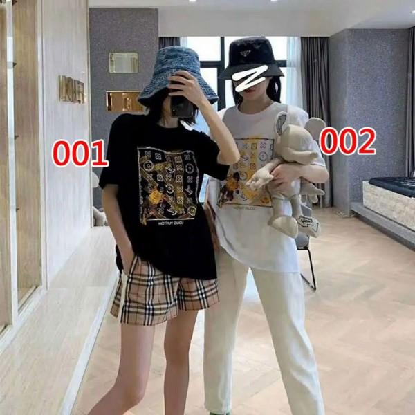ヴィトン風 レディース Tシャツ 黒白プリントTシャツ 夏 単色 半袖 綿 カレッジ风 ファッション通販 シンプル ミニマリストトップス オシャレ 若者愛用 ブランド