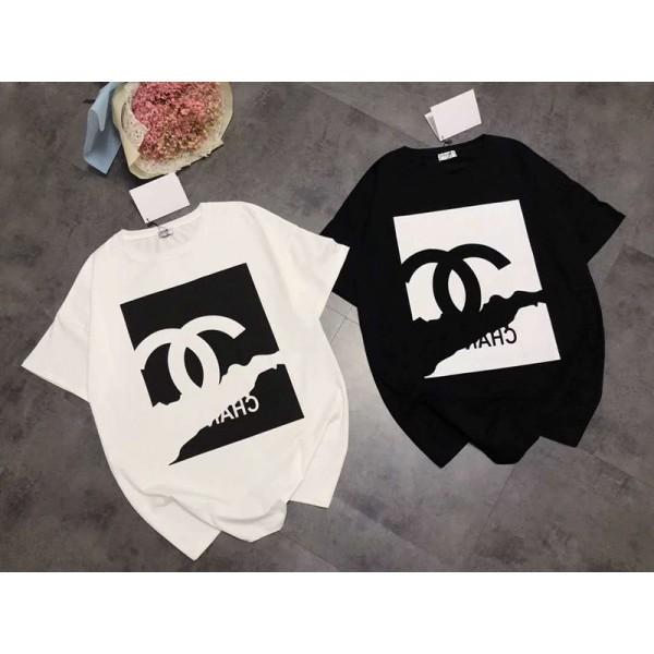 シャネルTシャツ 単色 半袖 ロゴ オシャレ 若者 ブランド人気 通学 通勤 レディースおしゃれ 修身 高品質 女性ファッションCHANEL T-shirt 黒 白 普段着 大きいサイズ 送料無料