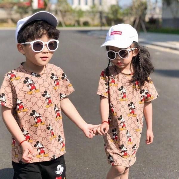 ハイブランドグッチTシャツ子供服男の子と女の子夏服 スカートGUCCIロゴディズニーミッキーパターンラウンドネックかわいい半袖 コットン快適 キッズ ルームウェア セット ショートパンツ