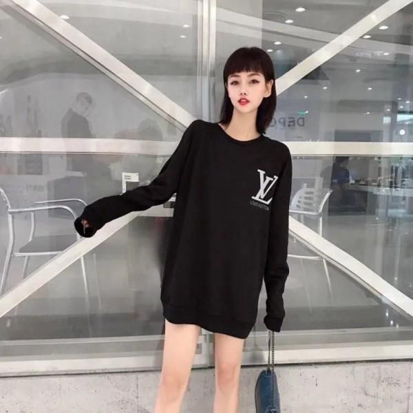 Louis Vuitton 黒 白 春秋服 カジュアル ゆったり 安い 上品 ナチュラル 丸襟 100%綿 長袖 レディースファッションコットンミニマリストトップス ヴィトン風 長い オシャレ ブランド 女性