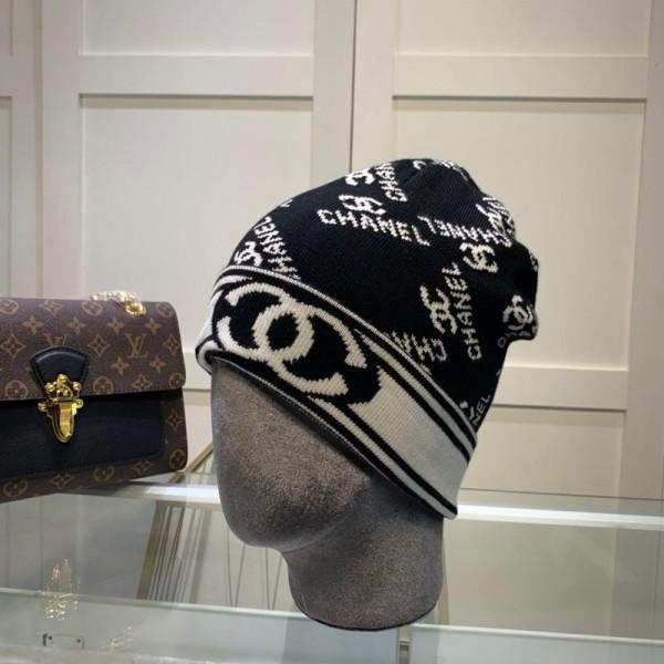 シャネル ブランドニット帽 メンズカジュアル潮流ハットレディース 暖かい 秋冬適用 編み物帽子ファッション 弾力性あり ウール製
