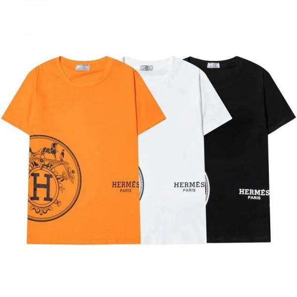 エルメスファッションメンズ半袖tシャツブランドHermes シンプル個性コットン高品質tシャツ経典 馬車絵柄 3色トップス男女款カップル