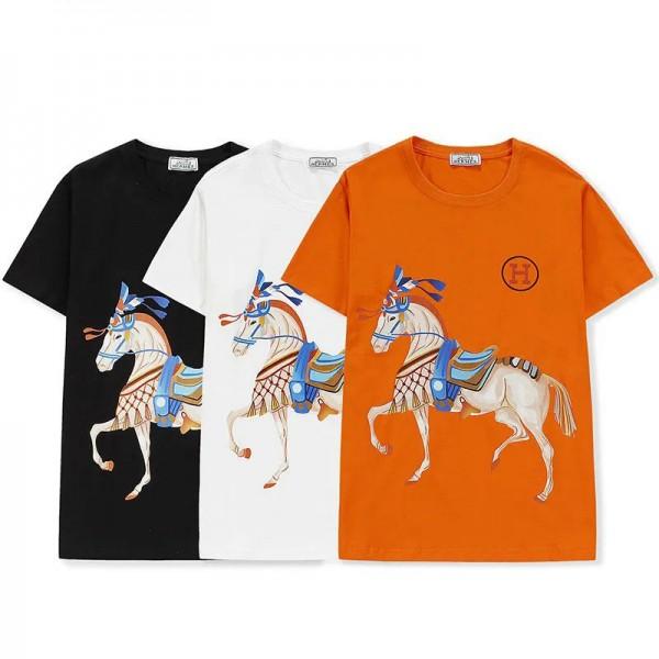 エルメスブランド半袖tシャツファッション馬頭絵柄コットン丸首トップス男女兼用 潮流 個性メンズtシャツ夏