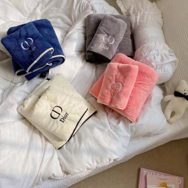 ディオールブランドバスタオル柔らかい 肌触りよい綿タオル高級コットン厚手 快適フェイスタオル2点セット家用 ホテル スイミング用