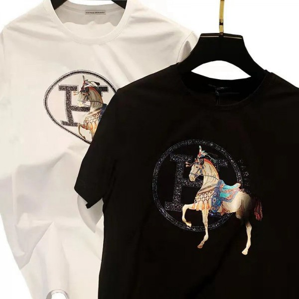 エルメスブランド半袖tシャツメンズファッション経典 戦馬プリントtシャツHermes コットン快適 吸汗T-shirt 柔らかい 肌に優しい シルク tシャツ