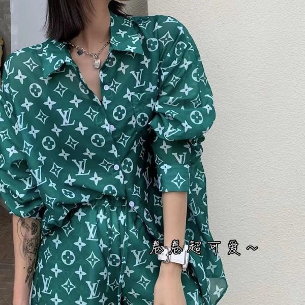 ルイヴィトンブランドレディースシャツパンツ上下セットファッション日焼け止めシャツLV定番プリント気質ズボン潮流 女スーツ