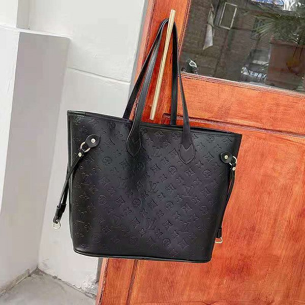 ルイヴィトンブランドレディースハンドバッグ高品質レザーシンプル手提げカバン大容量 大人っぽいショルダーバッグ女