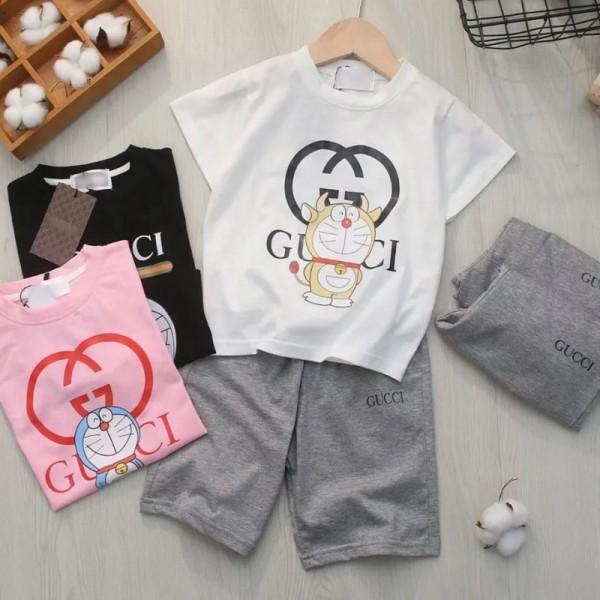 グッチブランドtシャツ半ズボン子供服 かわいいドラえもん絵柄コットンtシャツ男の子女の子 夏服 2点セット