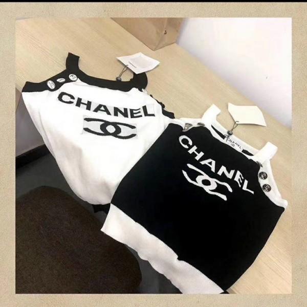 シャネルブランドレディースベスト高品質 薄いニットベストファッションスリム黒 白 快適トップス女