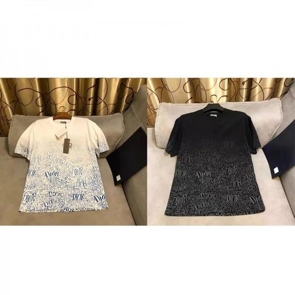 2021春夏Diorメンズtシャツブランドパロディディオール半袖コットン快適tシャツグラデーションプリント男女兼用Tシャツカジュアル