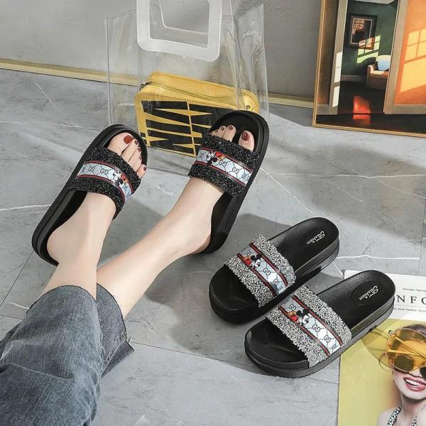グッチブランドスリッパレディース夏ファッション滑り止め厚底 涼スリッパ 小さめサイズ夏ルームシューズ 靴