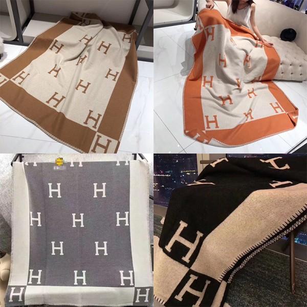 エルメスブランド毛布やわらか暖かいブランケット厚い車載 家用 空調用の毛布 高品質カシミア ソファ毛布