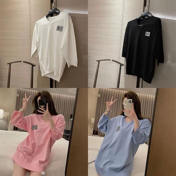 ブランドシャネルシャツ長袖コットンゆったりトップスレディースファッションVネックカジュアル薄いセーター女2021秋