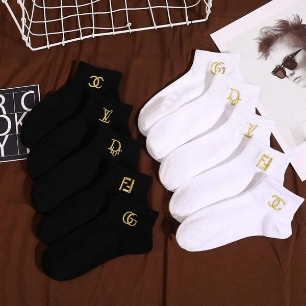 ルイヴィトンブランド靴下5足セットレディースシャネルGucciシンプル薄い純綿ソックスDiorフェンディ黒 白 やわらか快適ショートソックス女