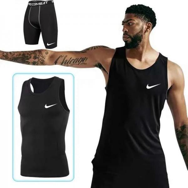 スポーツブランドナイキフィットネス服メンズファッション通気性がよいトップス半ズボン上下セット運動用スポーツインナー夏