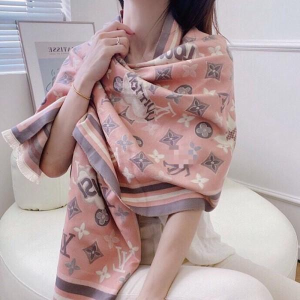 ルイヴィトンブランドマフラー柔らかい 偽物羊絨 大判おしゃれストールLV定番プリント高品質ふんわり保暖スカーフ女