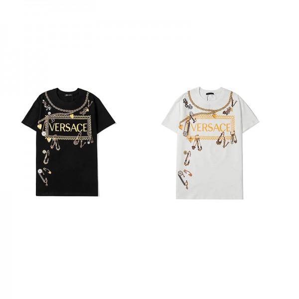 ヴェルサーチブランド半袖tシャツファッション潮流スペシャルプリントtシャツコットン快適トップス男女カップルゆったり上着