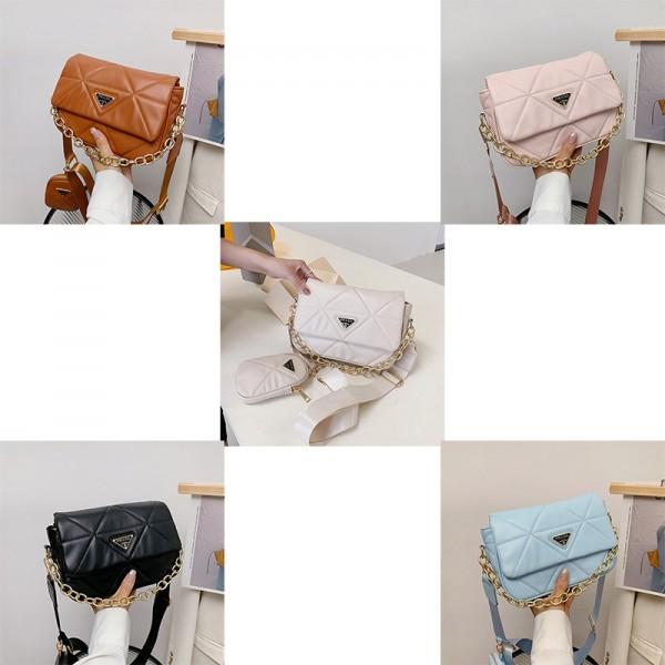 プラダブランドショルダーバッグレディースファッションポーチ付き小物入れ斜め掛けカバン高品質レザーバッグカバン女