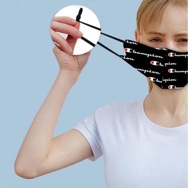 チャンピオンブランド洗えるマスク夏 接触冷感 氷の糸 繰り返しマスクchampion定番プリントブラックブルーフェイスマスク調整可能 男女兼用